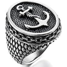 MunkiMix Acero Inoxidable Anillo Ring El Tono De Plata Negro Ancla Náutico Hombre