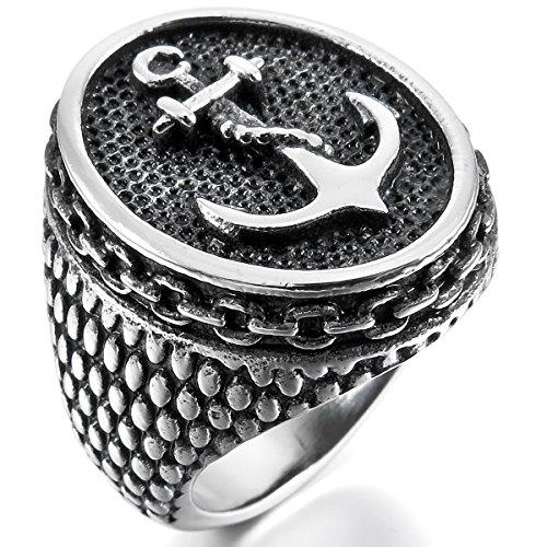 Munkimix acciaio inossidabile anello anelli tono argento nero ancoraggio vela dimensioni 20 uomo