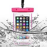 SpiritSun IPX8 Wasserdichte Tasche Transparent Waterproof Handy Hülle mit Armband Beutel Tasch für iPhone SE / 5 / 5S / 6 / 6S / 6 Plus / 6S Plus Galaxy S6 / S7 und andere bis zu 6 Zoll Smartphones - Rosa