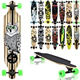 "Terena® Longboard 105x24 Long Board ""The Owl"" Skateboard Surfboard komplett medium Flex Longboards 00018(7 - 00018 - The Owl)"