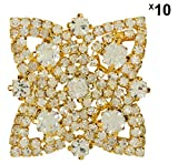 #10: Meher Arts Fancy Buttons (Metal with Stone, 6 cm x 4 cm x 2 cm, Gold, MA_BU_059, Pack of 10)