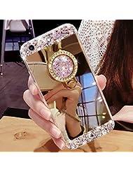 EUWLY Coque pour Huawei P9 Plus,Huawei P9 Plus Coque Silicone Étui Ultra Mince Housse,Bling Glitter Brillant Cristal de Diamant de Luxe Huawei P9 Plus Souple Coque Etui en Silicone TPU Case Soft Cover,Miroir Arrière Cas avec Support D'Anneau,Housse de Protection Effet Miroir,Étui TPU souple Miroir Coque Cas Case Cover Couverture Etui pour Huawei P9 Plus + 1 x Stylet Bleu,Or