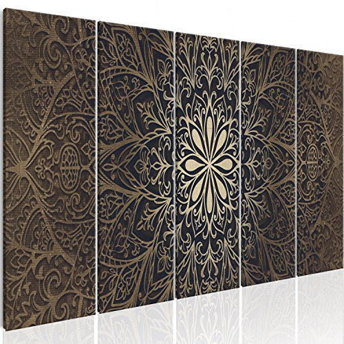 murando - Bilder Mandala 200x80 cm Vlies Leinwandbild 5 TLG Kunstdruck modern Wandbilder XXL Wanddekoration Design Wand Bild - Abstrakt Kunst f-A-0491-b-n