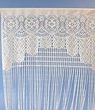 Vorhang, Türvorhang oder Raumteiler in Häkeloptik, L 200 cm, weiss