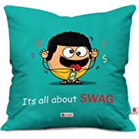 Indigifts Micro Satin and Fibre Quote Printed Aqua Cushion Cover with Filler (Blue, 12x12-inch)