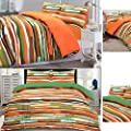 Waves Multi-colour Reversible Cotton Blend Duvet Cover Pillowcase Bedding Set - low-cost UK light store.