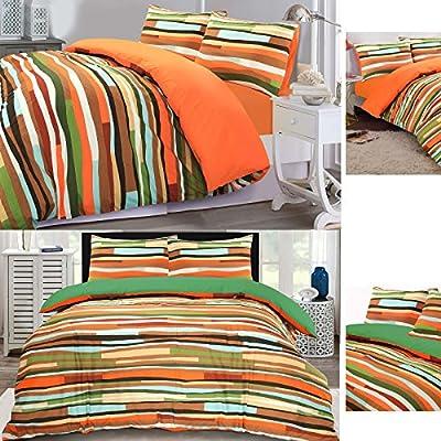 Waves Multi-colour Reversible Cotton Blend Duvet Cover Pillowcase Bedding Set - inexpensive UK light store.