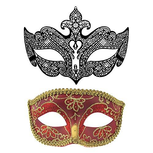 Thmyo Venezianische Maskenball-Masken der Paare, Halloween-Karneval-Kostüm-Maske (Schwarz + - Maskenball Kostüm Für Paare