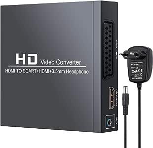 Neoteck HDMI a SCART HDMI a HDMI Convertitore 1080P HDMI a Composito Segnale Video/FL/FR Stereo Segnale Audio Adattatore con Cuffie da 3.5 mm e Alimentatore Supporta PAL NTSC per TV CRT VHS DVD