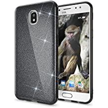 Samsung Galaxy J7 2017 (EU-Model) Purpurina Funda de NICA, Carcasa Protectora Movil TPU Silicona Fina Glitter Gel Bumper, Lentejuela Cubierta Delgado Cover Case para Samsung J7 2017, Color:Negro