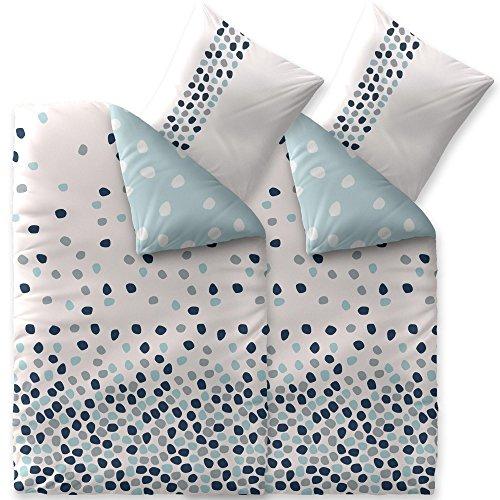 CelinaTex Fashion Bettwäsche 135 x 200 cm 4teilig Baumwolle Iris Punkte Weiß Blau Grau