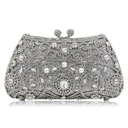 e3ccfdd2f2a59 Milisente Frauen Abend Tasche Blume Kristall Kupplung Glitzer Hochzeit  Abend Clutch Silber