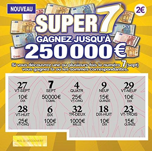 TA- Farces et Attrapes Fausses Cartes À Gratter Tickets De Loterie Gagnants pour Blague Canular X 5 - Tous Affiche Un Faux Gain de 50.000 € à 250.000 €