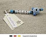 NAMENSANHÄNGER - Anhänger mit Namen - Baby Kinder Schlüsselanhänger für Wickeltasche, Kindergartentasche, Schultasche oder Rucksack mit Schlüsselring - Jungen Motiv Bär in blau