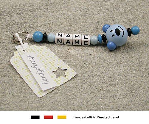 Preisvergleich Produktbild NAMENSANHÄNGER – Anhänger mit Namen | Baby Kinder Schlüsselanhänger für Wickeltasche, Kindergartentasche, Schultasche oder Rucksack mit Schlüsselring | Jungen Motiv Bär in blau
