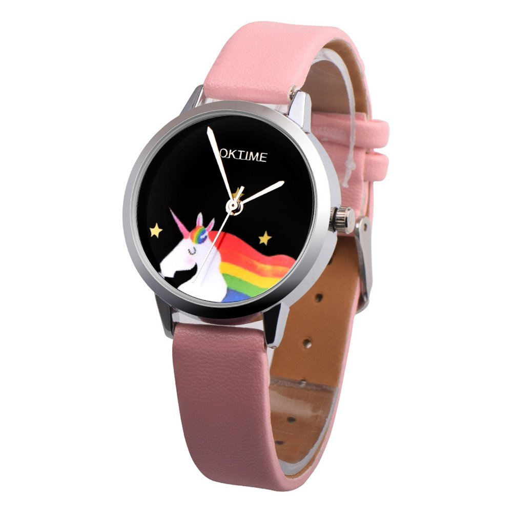 Girls Cartoon Unicorn Pattern Round Dial Faux Leather Quartz Wrist Watch