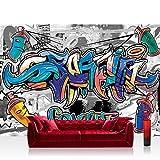 Vlies Fototapete 200x140 cm PREMIUM PLUS Wand Foto Tapete Wand Bild Vliestapete - Graffiti Tapete Kindertapete Graffiti Dosen Schriftzug bunt - no. 674