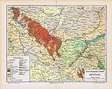 Geologische Karte von Thüringen. Historische Landkarte (Sammlerstück) von 1897.
