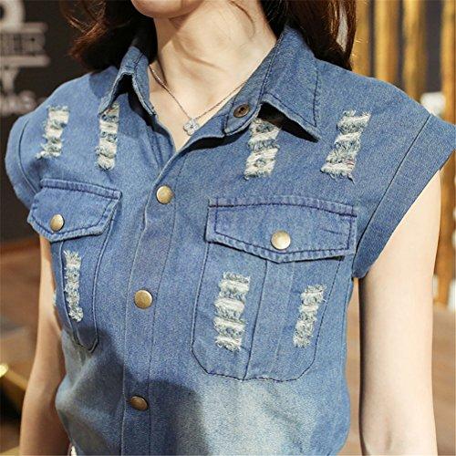 Femmes élégant Lapel manches courtes Slim Fit Holes Button longue robe en denim Bleu