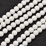 NBEADS 5fili (64PCS/ciocca) 6mm naturale Malaysia bianco giada perline fili rotondo bianco perline per fai da te bracciale collana creazione di gioielli