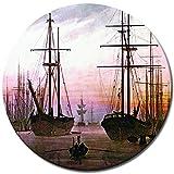 Bilderdepot24 Kunstdruck - Alte Meister - Caspar David Friedrich - Ansicht eines Hafens - RUND - 40 cm - Leinwandbilder - Bild auf Leinwand