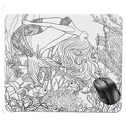 J5E7JYTE Gaming Mouse Pad,Surreal Little Mermaid Enjoying Undersea Ancient Lady in Coral Reef Artsy Graphic Mouse Pad -