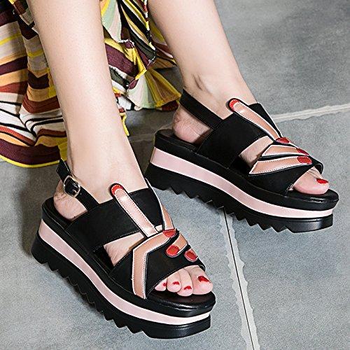 LvYuan Sandali estivi delle donne / moda casuale di stile / inarcamento / talloni inferiori / cunei / scarpe romane Black
