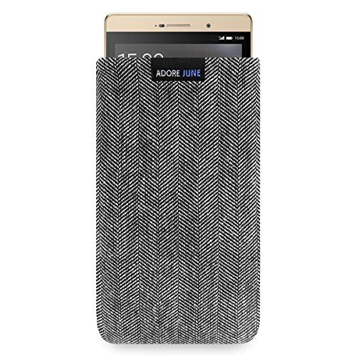 Adore June Business Tasche für Huawei P8 max Handytasche aus charakteristischem Fischgrat Stoff - Grau/Schwarz | Schutztasche Zubehör mit Display Reinigungs-Effekt | Made in Europe