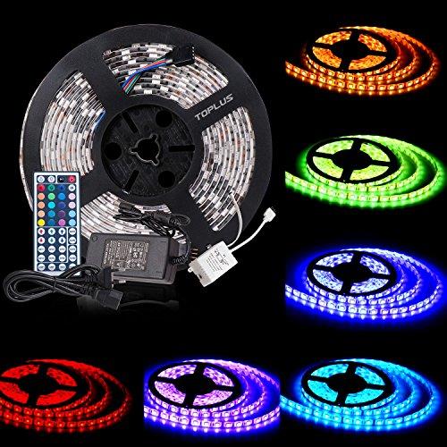 toplus-5050-led-strip-lights-rgb-led-strips-lighting-full-kit-44-key-ir-remote-12v-uk-charger-built-