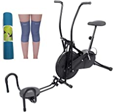 Lifeline Exercise Air Bike Cycle for Home Use Bundles with Twister, Pushup, Yoga Mat (6 mm) and Knee Cap (Four Way Stretch)