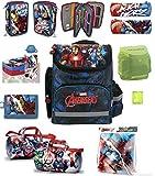 Avengers Schulranzen Set 9-tlg. Sporttasche, Federmappe gefüllt 3-fach, Regenhülle von Familando PL
