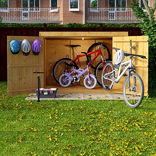 6x3 Overlap Wooden Pent Bike Storage Double Door Roof Felt