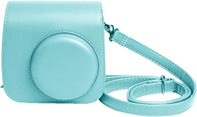 Shopizone Classic Vintage PU Leather Compact Case with Strap for Fujifilm Instax Mini 9/8/8+ (Ice Blue)