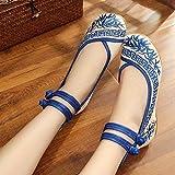 Eeayyygch Bestickte Schuhe, Sehnensohle, Ethno-Stil, weibliche Stoffschuhe, Mode, bequem, lässig im Anstieg, blau, 39 (Farbe : -, Größe : -)