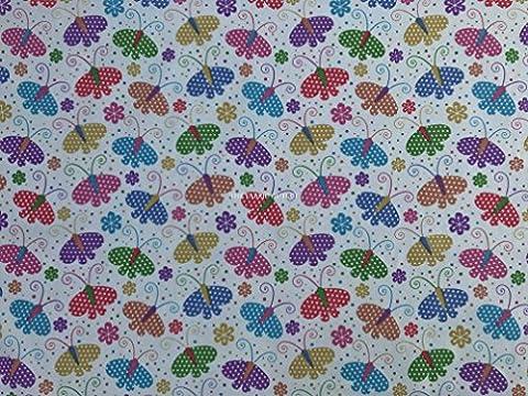 Prestige Multicolore Papillons/imprimé papillon Poly Coton Couture Robe Tissu 114,3cm
