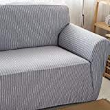 HYSENM 1/2/3/4 Sitzer Sofabezug Sesselbezug Bambus-Baumwolle unempfindlich rutschfest anti-Pilling , Grau+Weiß 4 Sitzer 235-300cm