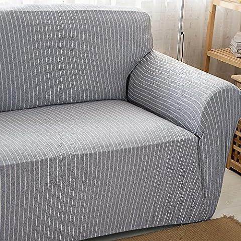 HYSENM 1/2/3/4 Sitzer Sofabezug Sesselbezug Bambus-Baumwolle unempfindlich rutschfest anti-Pilling , Grau+Weiß 2 Sitzer 145-185cm