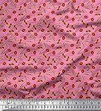 Soimoi Rosa Crepe Ray Tessuto Triangolo, Rossetto e Tacchi Moda Tessuto Stampato da Cucito dal Metro 46 Pollici Larghi