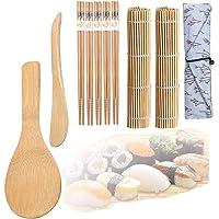 Kit Sushis, 10pcs Kit à Sushi, Kit de Préparation de Sushi 2 Tapis en Bambou, 1 Pagaie à Riz, 1 Épandeur de Riz, 5…