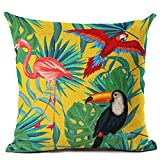 Tropical Green Plant Leaves Flower Linen Cushion Cover Pillow Case Home Decor