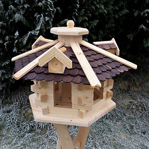 Qualitäts Vogelhaus mit Holzschindeln 6 Eck lasiert Vogelhäuser-Vogelfutterhaus großes Vogelhäuschen-aus Holz Wetterschutz (Dunkelbraun)