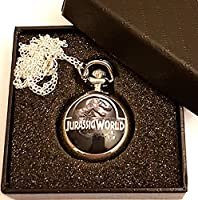 Jurassic World Pocket Watch Necklace - Silver Plated Chain - GIFT BOXED WITH FREE SPARE BATTERY