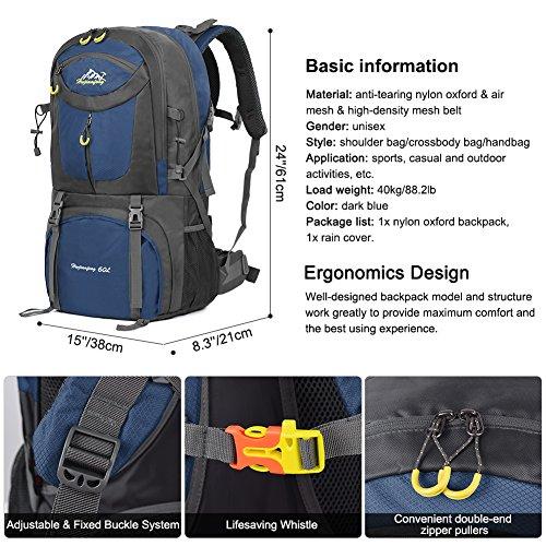 Imagen de vbiger 60l  impermeable  para deporte al aire libre para escalada senderismo trekking alpinismo con cubierta para la lluvia azul marino  alternativa