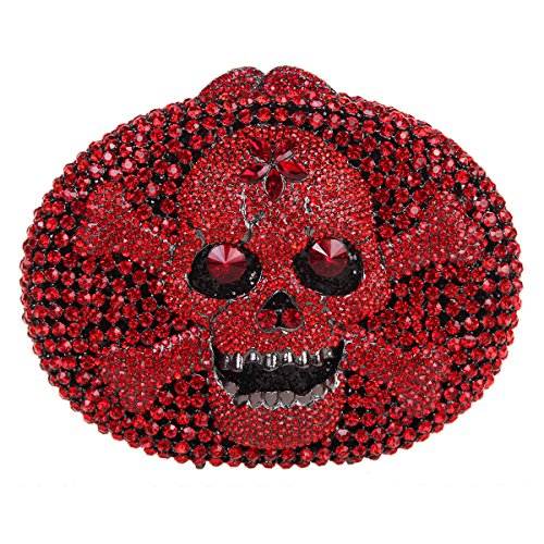 Bonjanvye Crystal Rhinestone Bags Purses with Skulls Clutch Evening Bag for Halloween Party Red - Red Crystal Clutch