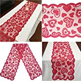 TianranRT Valentine 's jour rouge Poinsettia dentelle tissu nappe Valentine' s jour tableau caillot