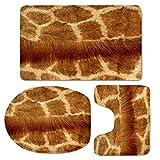 LLW Tapis de Bain antidérapants Set Motif léopard doré Soft Flanne Tapis de Bain Doux et épais Contour Couvercle de Toilette Couvercle [3 Pièces], B