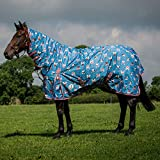 Derby House Pro Frenchie Print Medium Combo Turnout Rug 6ft Niagra Ash Rose