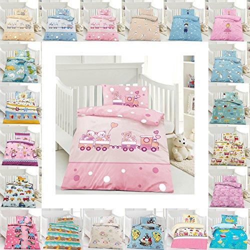 Rosa Bettwäsche Mädchen Set (Kinder Bettwäsche 100 x 135 cm + Kissen 40 x 60 cm 100% Baumwolle mit Reißverschluss, Erhältlich mit verschiedenen Motiven - Kinderbettwäsche-Set, Babybettwäsche, bedruckter Bettbezug für Jungen & Mädchen - Bärchen mit Zug Rosa)