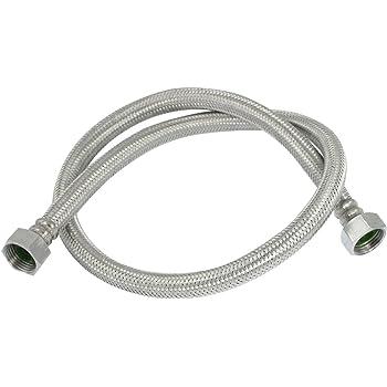 Flexible chrome eau tuyau pour salle de bains cuisine connexions d 39 eau 50cm 0 5m lot de 2 - Tuyau salle de bain ...