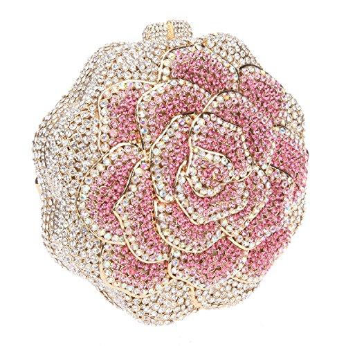 Bonjanvye Studded Rose Evening Purse Crystal Rhinestone Floral Clutch Bag AB Gold Fuchsia